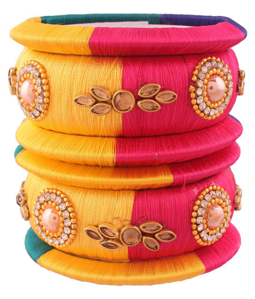 I Jewels Traditional Gold Plated Threaded Bangles for Women (ADB149c)