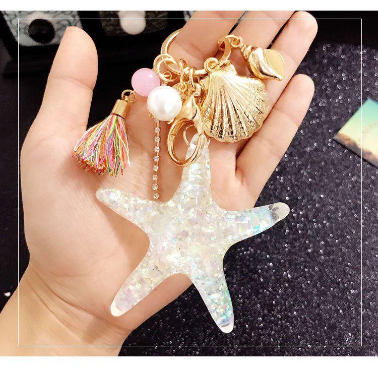 New Cartoon Sea World Starfish Pearl Shell Keychain Crystal Pendant Key Chain Women Gift