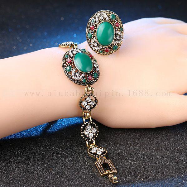 Exquisite Agate Bridal Wedding Jewelry Sets Turkish Design