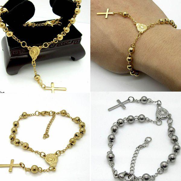 Lackingone Stainless Steel Bead Bracelet with Cross Pendant Jesus Rosary Bracelets