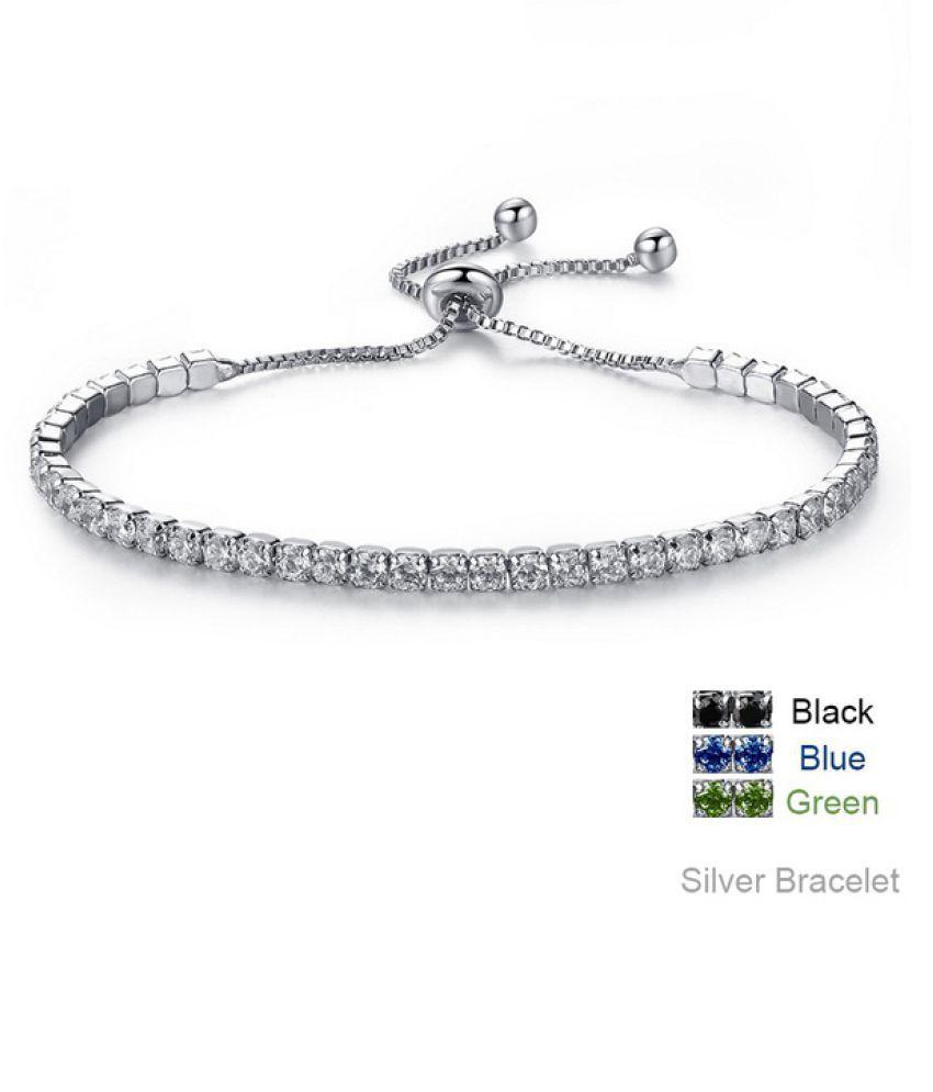Bangles Women's Fashion 18k White Gold Plated Bangle CZ Bracelets Engagement Wedding Diamond Chain Bracelet