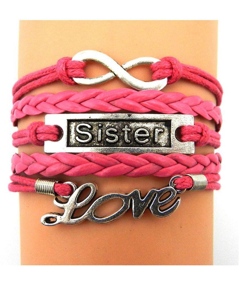 leather Leather Infinity & Sister & Love Handmade Braid Bracelet for Friendship Gift