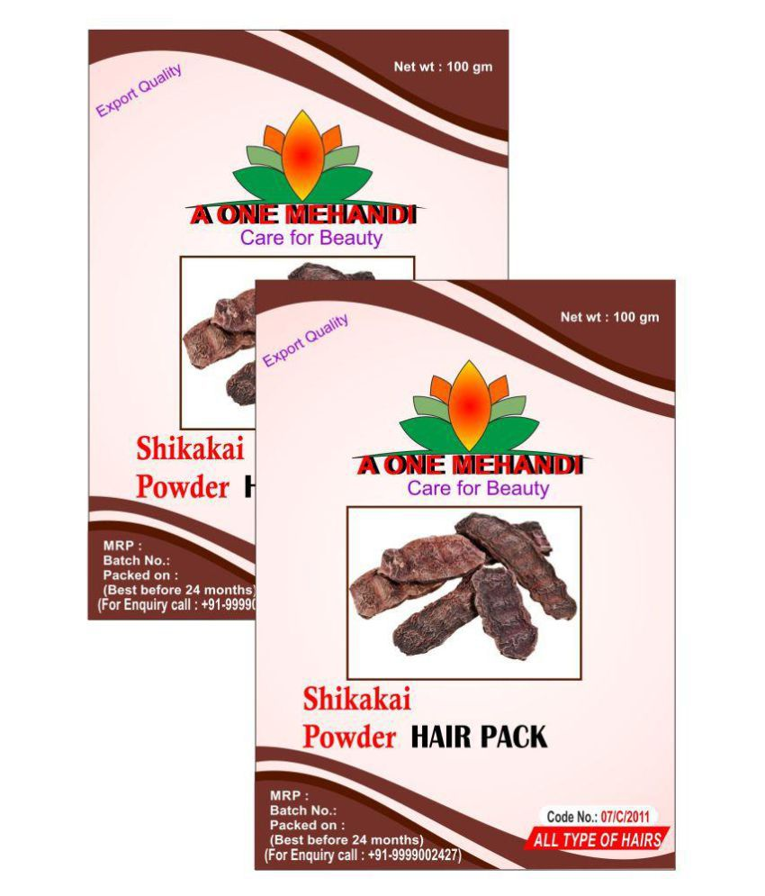 A One Mehandi Shikakai Powder 200 gm ( 100 gm x 2 ) Semi Permanent Hair Color Black Shikakai-Powder 200 gm