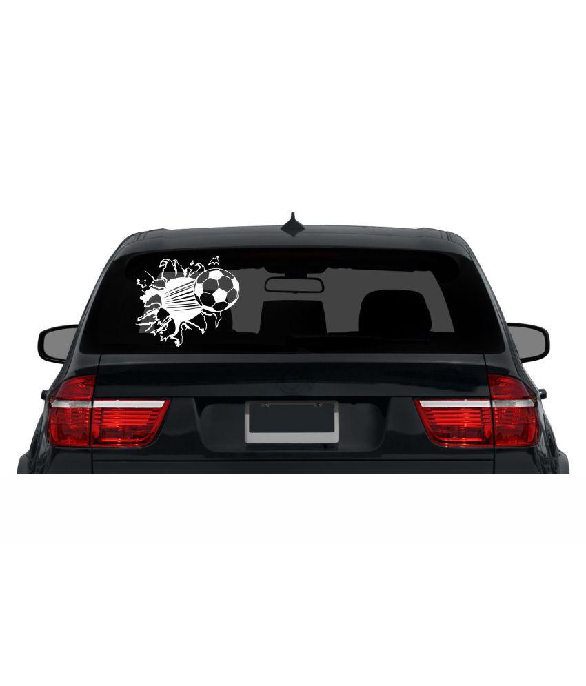 Decor Kafe Football Mirror Break Effect Car Decals Stickers White