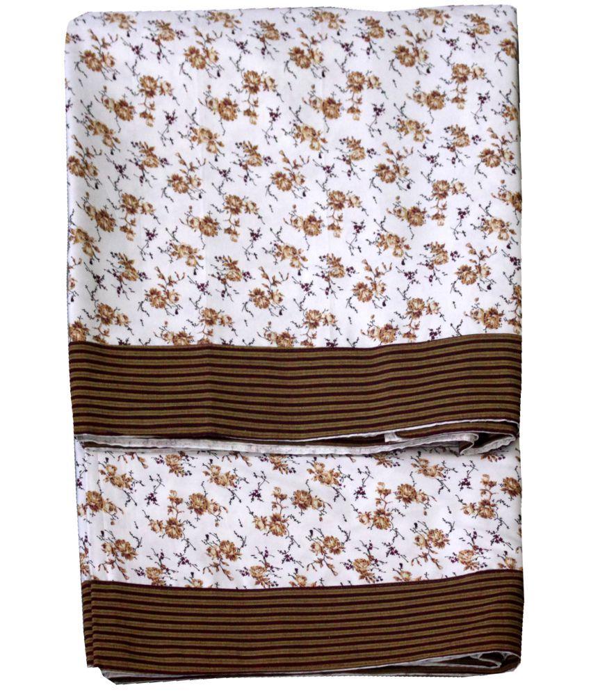 Elan Dreams Single Cotton Brown Ethnic Top Sheet Set of 2
