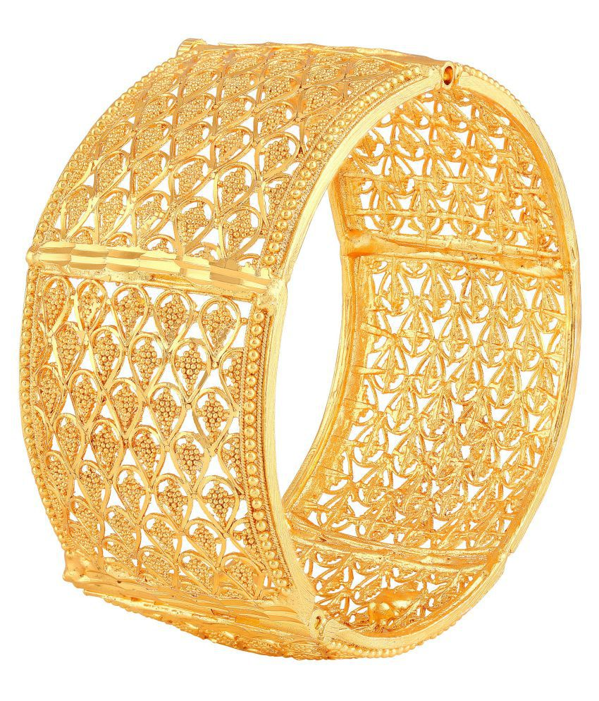 8c89e8719ec91 Asmitta Traditional Pear Design Gold Plated 1 Gms Gold Brass Openable Kada  For Women