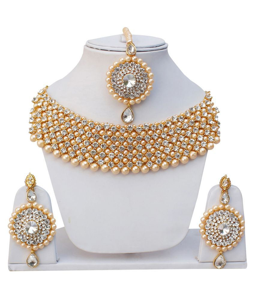 Lucky Jewellery Elegant White Color Gold Plated Pearl And Stone Necklace Set For Girls & Women
