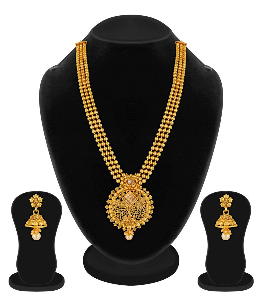 RG Fashions Jewellery Copper Gold Plating Pearls Studded Gold Coloured Necklaces Set