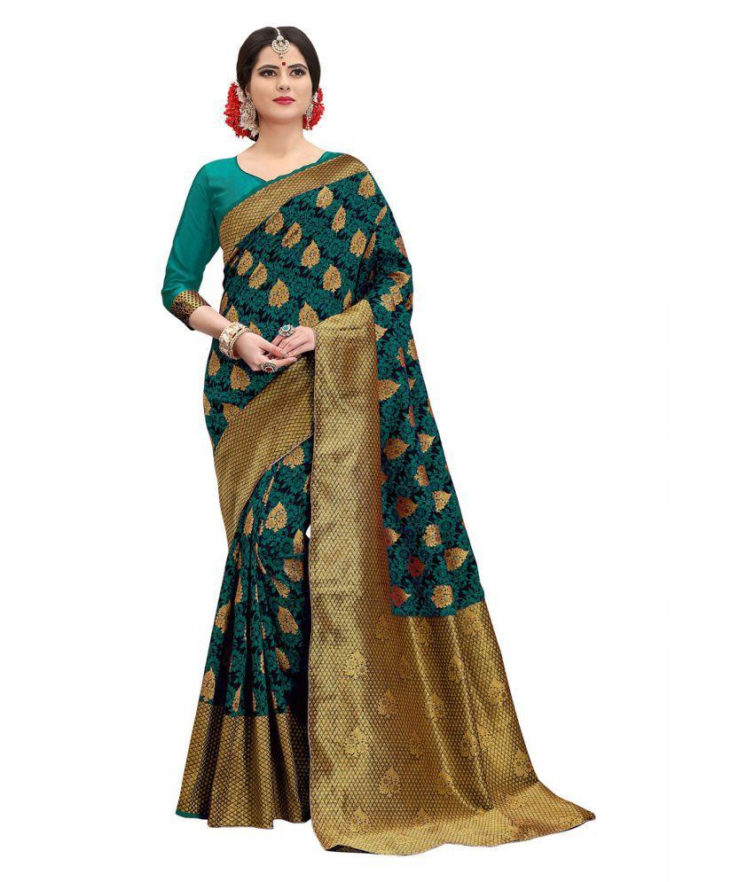 ethnic diwa Green and Brown Banarasi Silk Saree