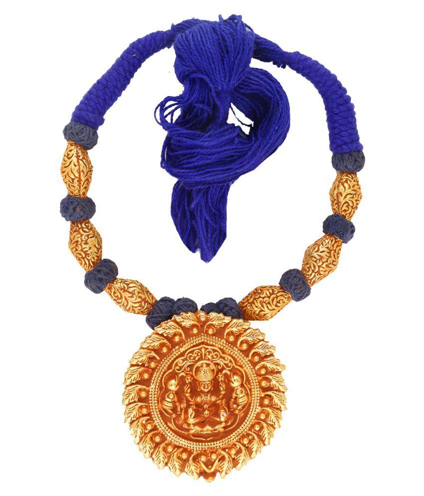 Anuradha Art Blue Colour Temple Styled Designer Geru Polishe Neckalce For Women/Girls