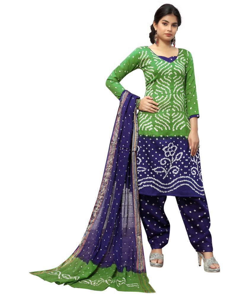Fabrica Shoppers Green Satin Dress Material