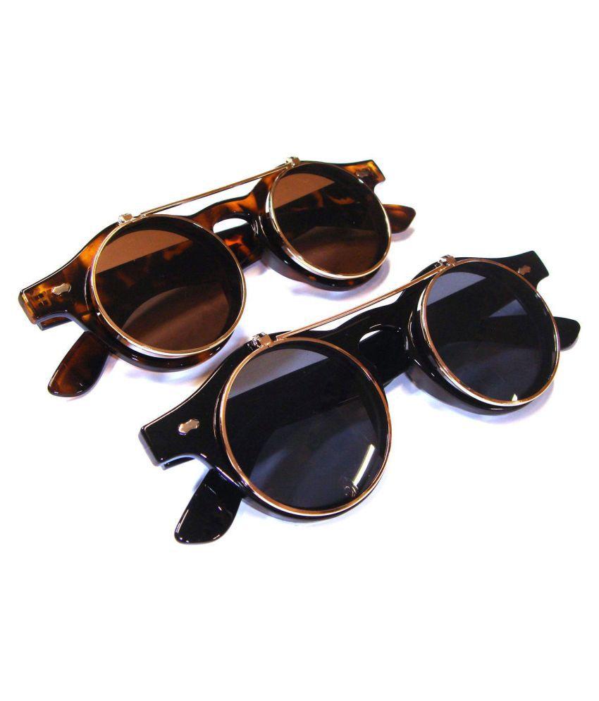 ZXG Brown Aviator Sunglasses ( Steampunk Goth Goggles Glasses Retro Flip Up Roun )