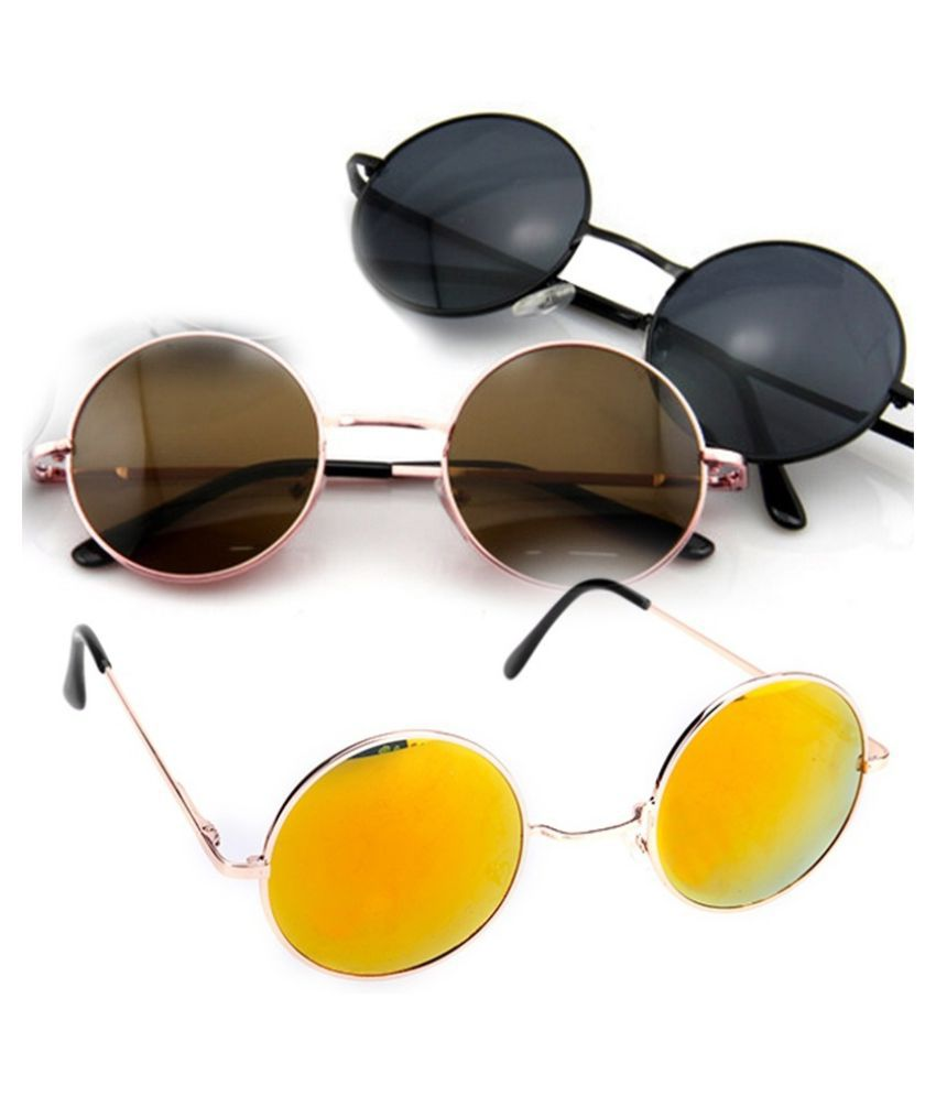 ZXG Yellow Aviator Sunglasses ( New Fashion Unisex Vintage Style Frame Lens Retro )