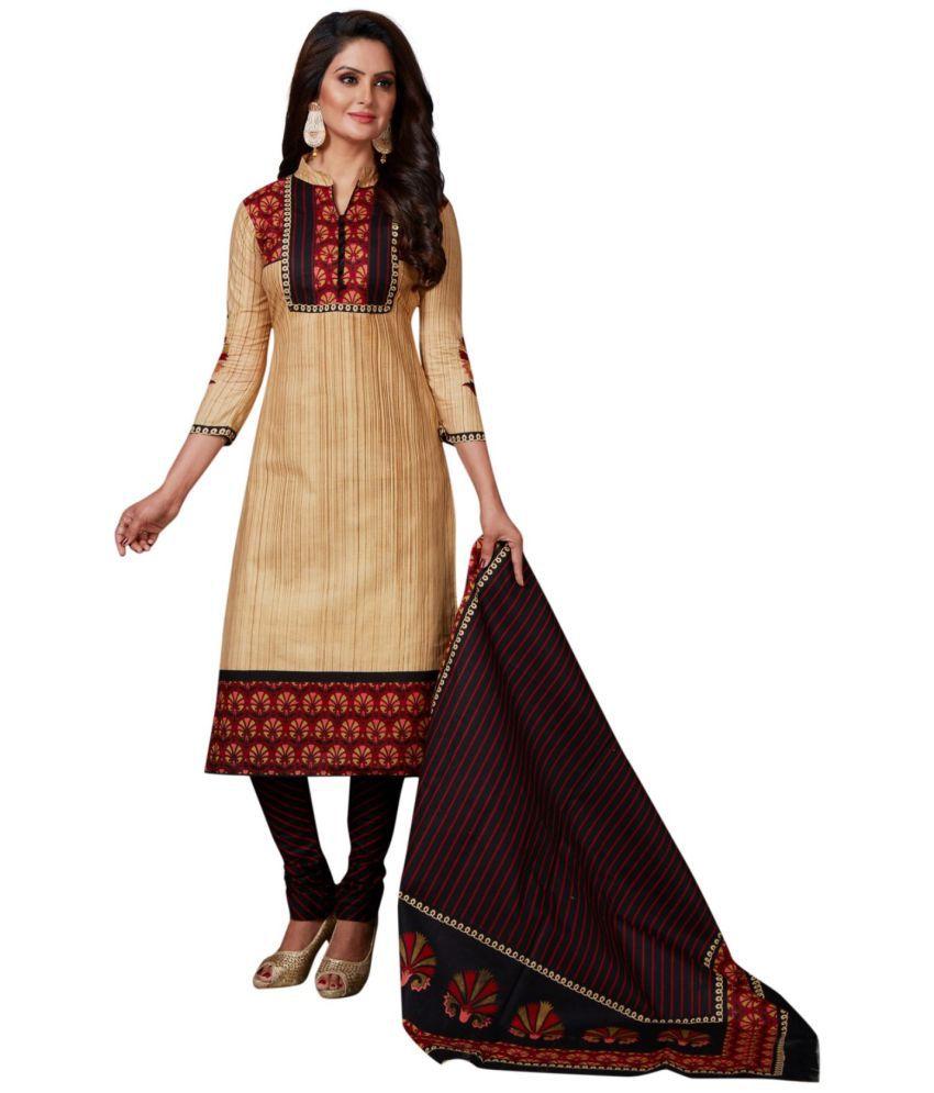 C G Fashion Beige Cotton Dress Material