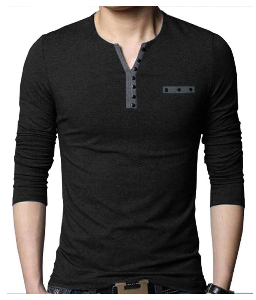 Try This Black Henley T-Shirt