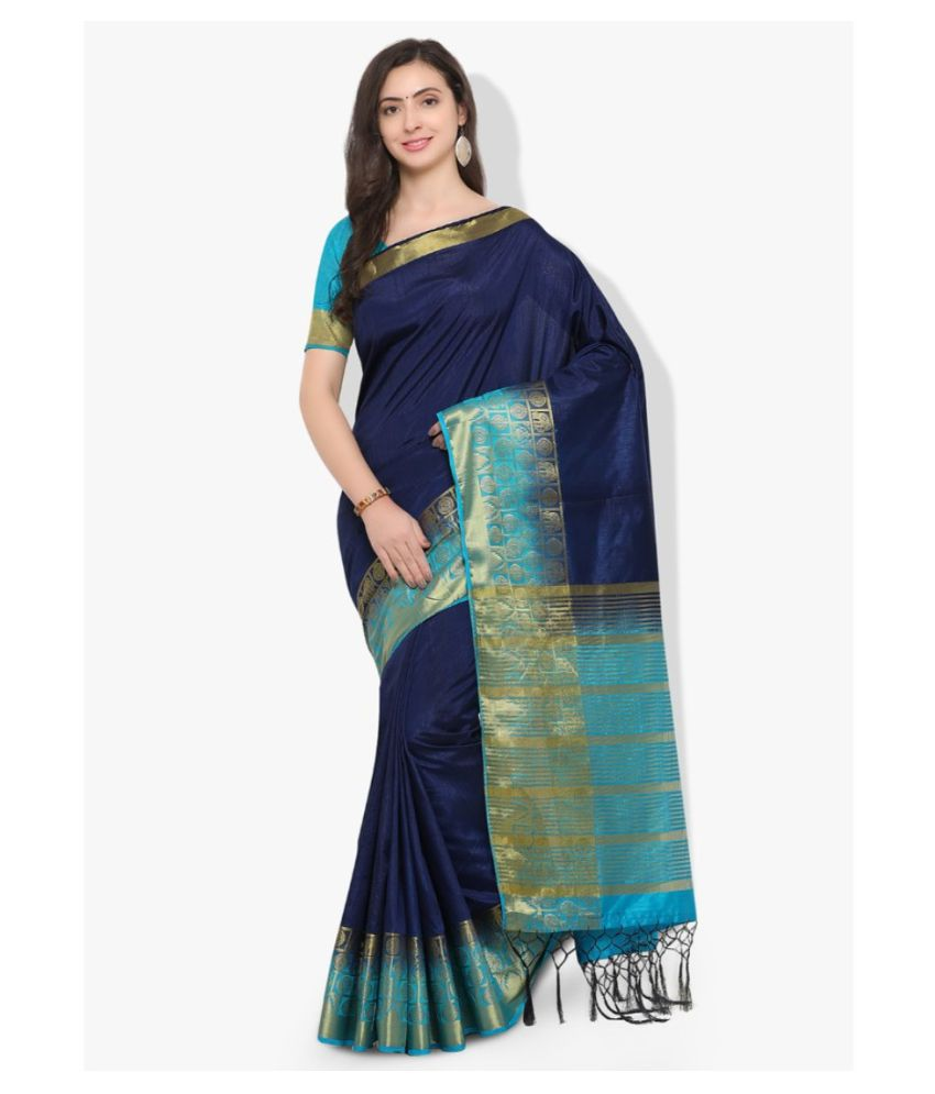 Vkaran Blue Cotton Saree