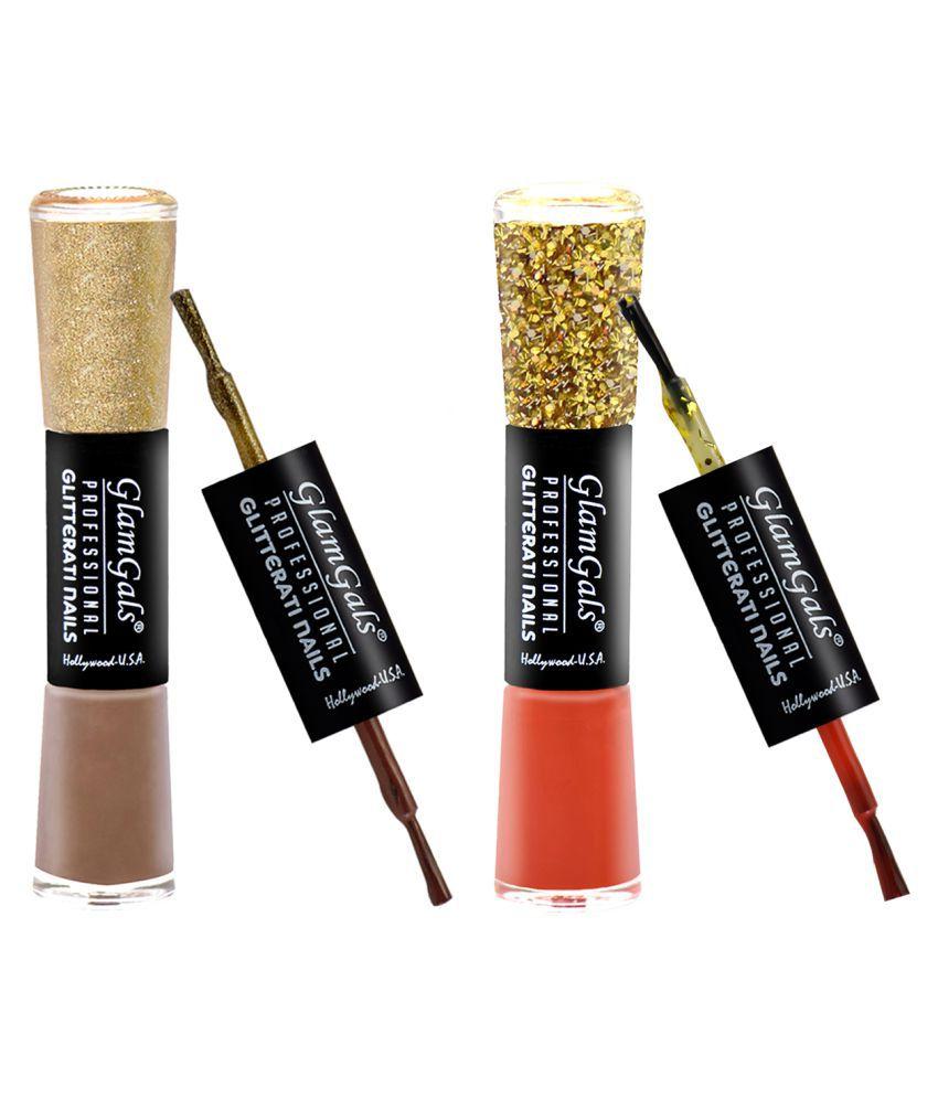 GlamGals Glossy Finish Glitterati  Nail Polish Nude, Red Matte 11 ml Pack of 2