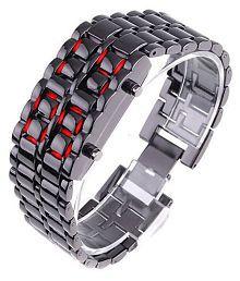 JM Black Metal LED Faceless Bracelet Watch For Kids
