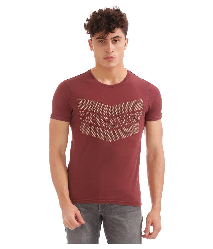 Ed Hardy Maroon Round T-Shirt