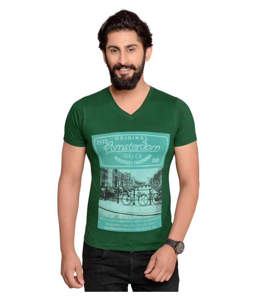 Fashion Fever Green V-Neck T-Shirt Pack of 1