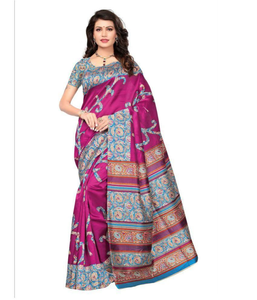 London beauty Pink Bhagalpuri Cotton Saree