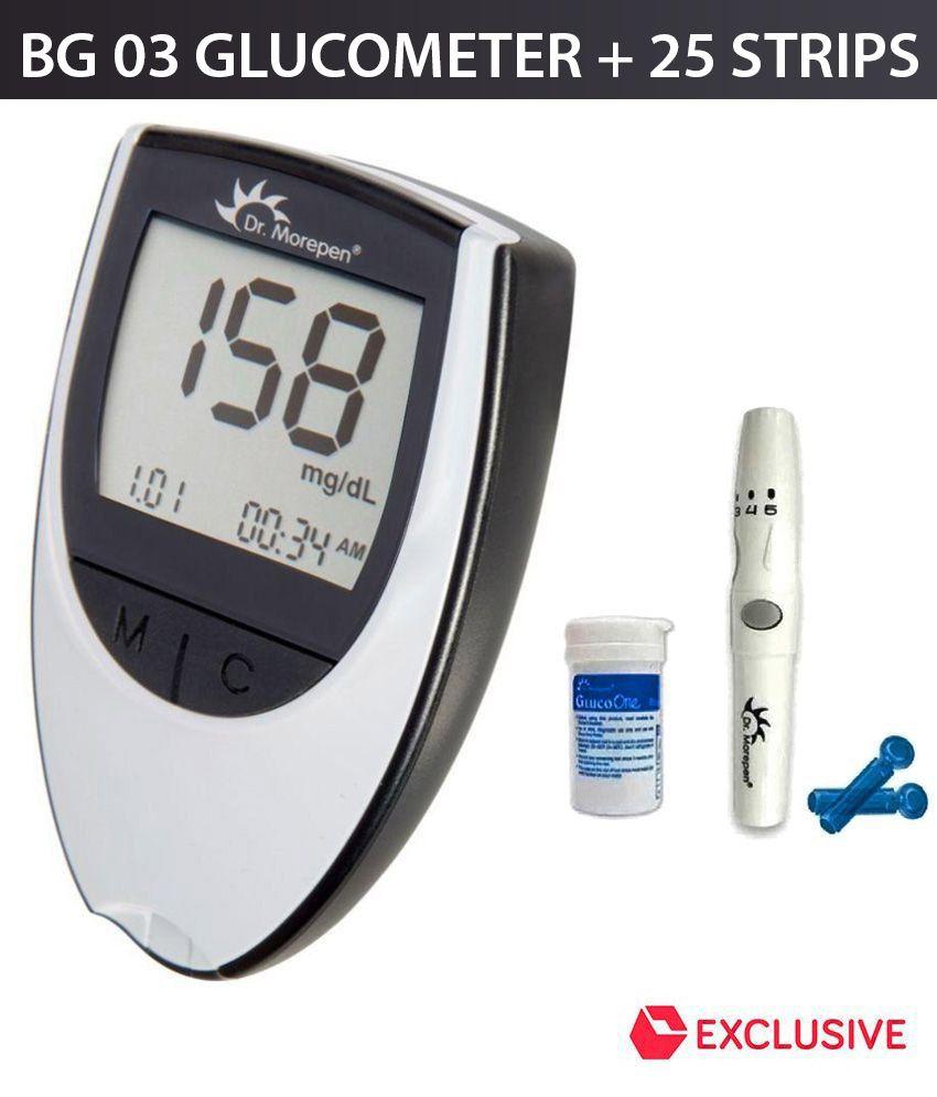 Dr Morepen Glucose Monitor Bg 03grey Color 25 Test Strips Free Strip Gluco Bio Sensor