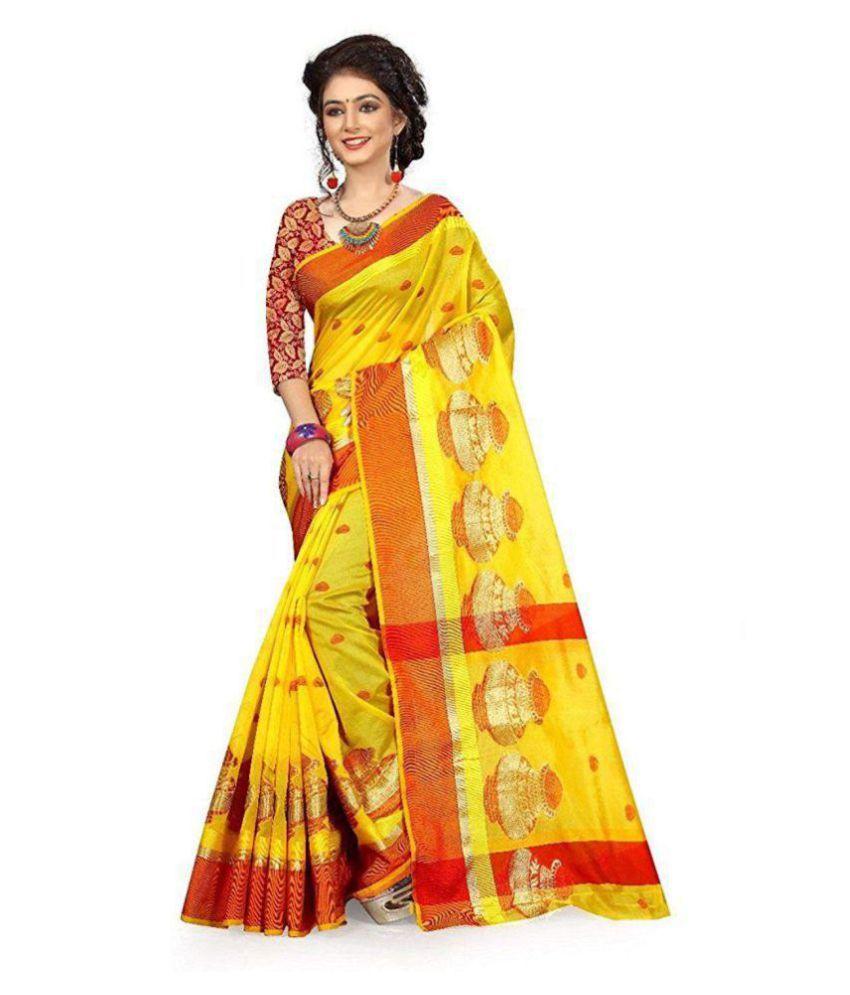 Pemal Designer Yellow and Orange Cotton Silk Saree