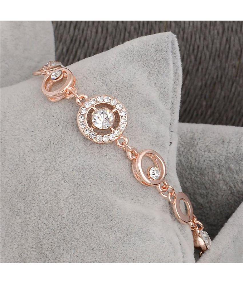 18k Rose Gold Filled Around Crystal Women's Link Chain Bangle Bracelet