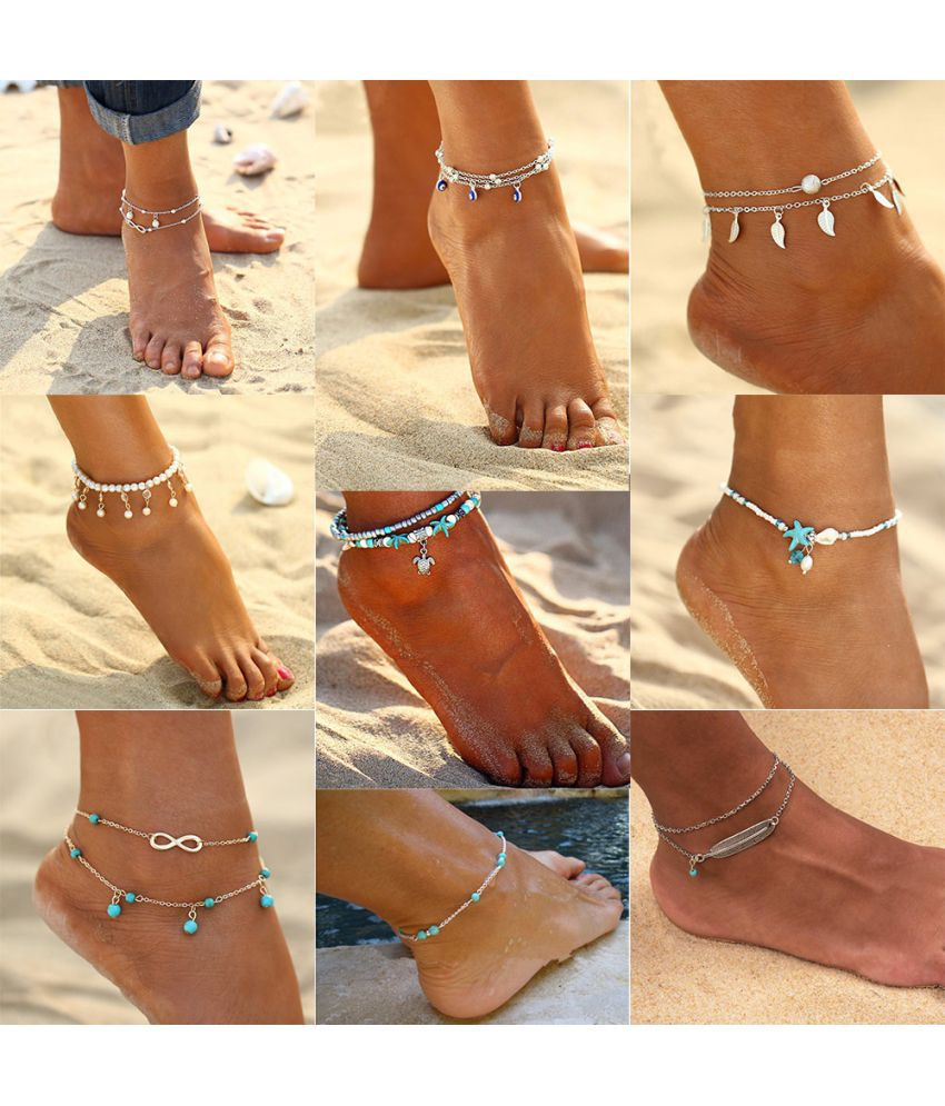 2018 Women Crystal Sequins Anklet Set Beach Foot Jewelry Vintage Statement Elephant Moon Chain Charm Anklets Bracelet Boho Retro Style Party Summer Alloy Jewelry