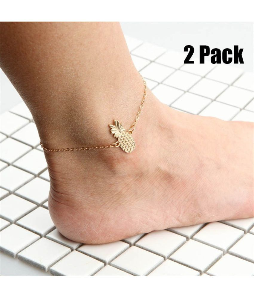 2Pcs Fashion Cute Pineapple Anklets Summer Beach Foot Chain Anklets Charm Jewelry for Women