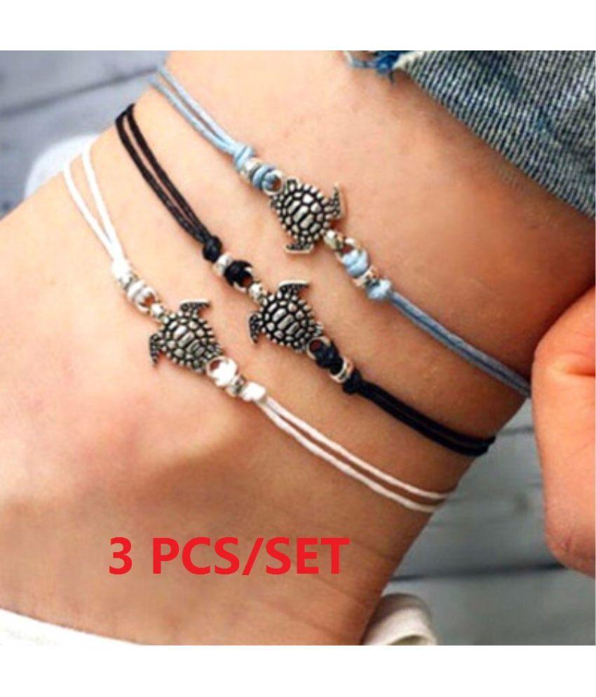 3pcs/set Summer Fashion Classics Vintage Punk Style Tortoise Ankle Chain Bracelet Women Beach Party Multi-layers Leather Bracelet Jewelry Set