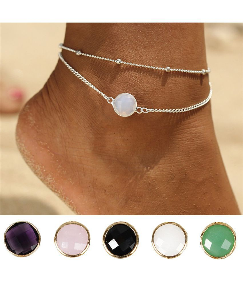 Bohemia Opal Crystal Multi-layer Chain Ankle Anklet Bracelet Trendy Summer Alloy Foot Anklets Women Jewelry Accessories Gifts