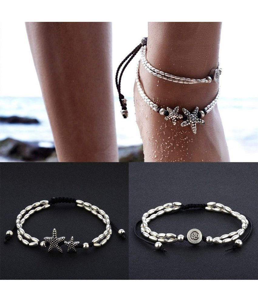 Bohemian Women Fashion Jewelry Bracelets Anklets Star Pendant Rope Chain Ankle