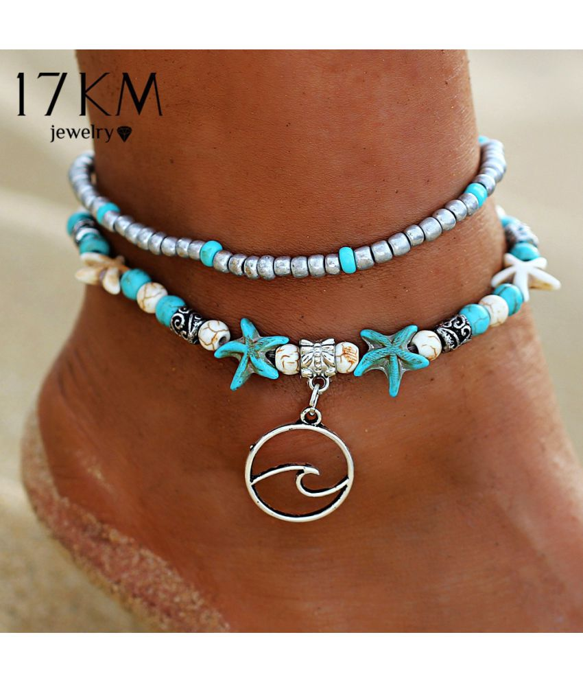 Classics Bohemia Style Turquoise Natural Stone Beach Anklet Bracelet Charm Women Vintage Bohemian Prom Foot Chain Anklets Bracelets Jewelry Gifts