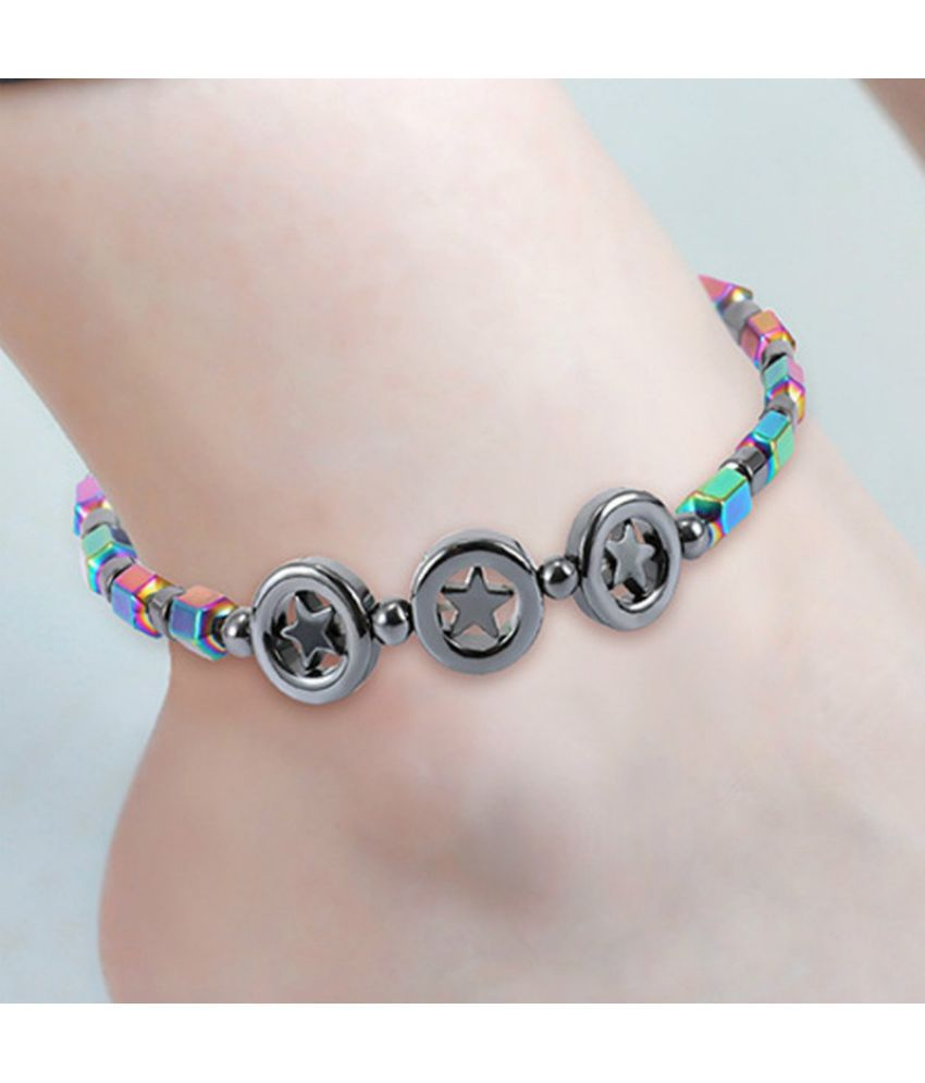 Creative New - Style Circle Star Magnetic Bracelet Black Stone Plating Colored Anklet Beads Foot Chain
