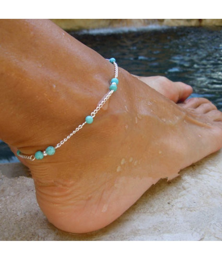 Fashion Imitation Turquoise Beads Silver Anklet Foot Chain Ankle Bracelet Gift