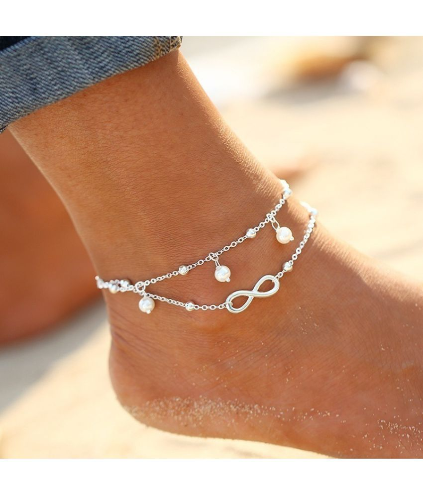 Fashion Simple All-Match Infinity Anklet Creative Double Chain Cross Shape Pretty Girl Summer Beach Travel Bracelet Jewelry