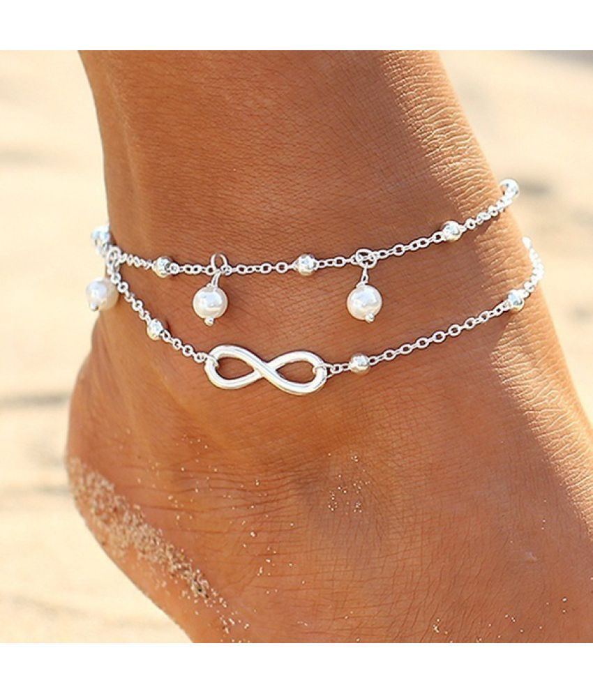 Fashion Women Infinity Chain Pearl Anklet Beach Alloy Pendant Barefoot Anklets Bracelet for Women Dress Simple Elegant Bohemian Charm Beautiful Accessories Gold Silver Color