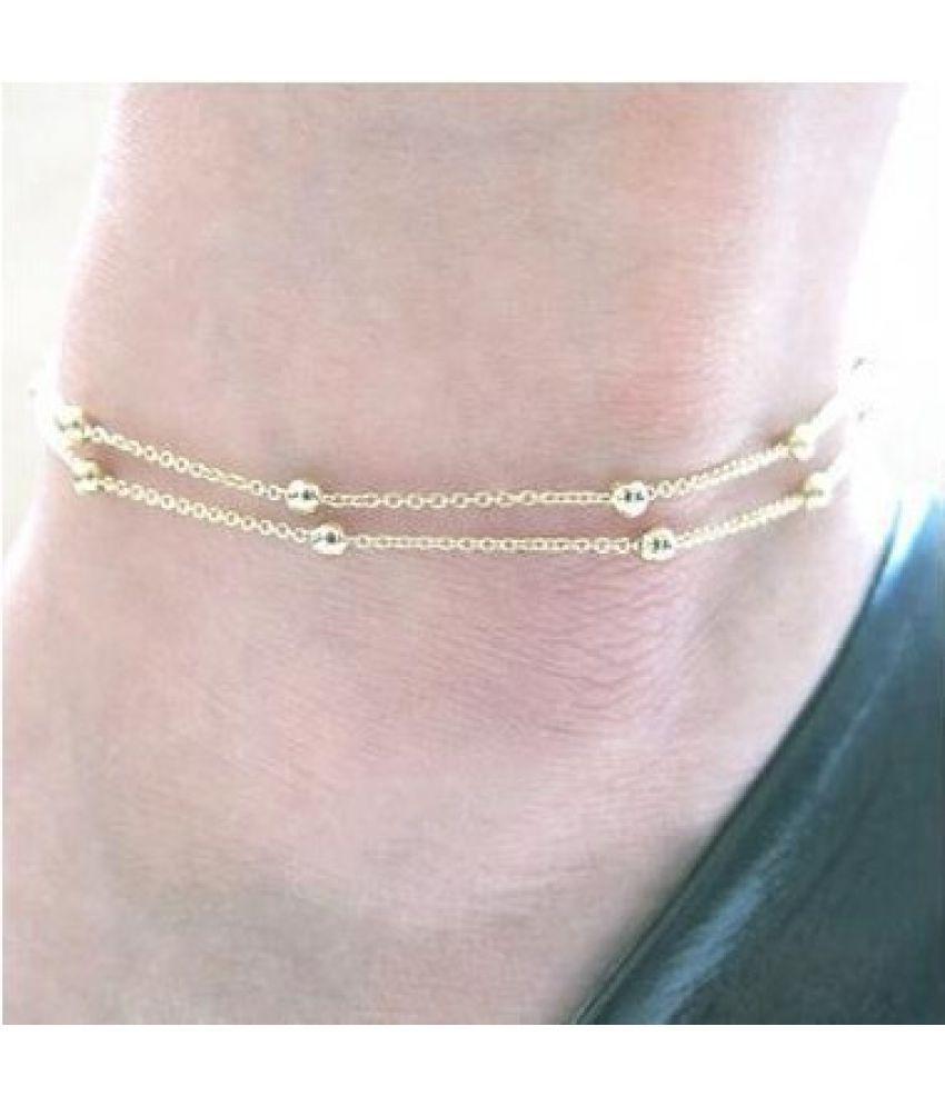 Fashion Women Jewelry  Fashion  Double-deck Chain Bead Foot Chain