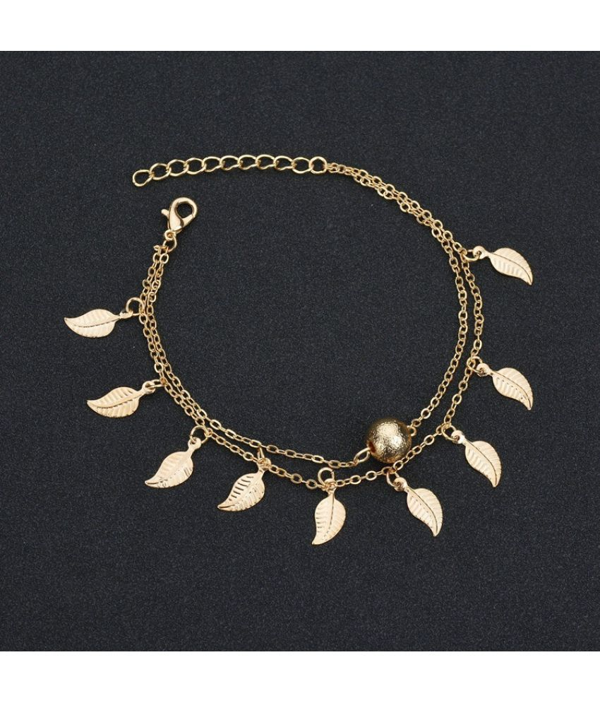 New Fashion Exquisite Metal Leaves Tassels Anklet Bracelet Women Small Fresh Double Chains Beach Anklet Chain Summer Gifts