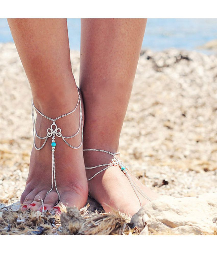 Women Summer Style Beach Barefoot Sandal Foot Tassel Casual Anklet Chain