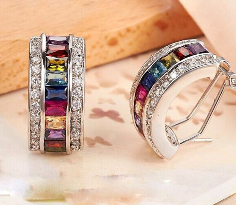 Luxurious Women 925 Sterling Silver Natural Gemstone Multicolor Sapphire Diamond Stud Hoop Earrings