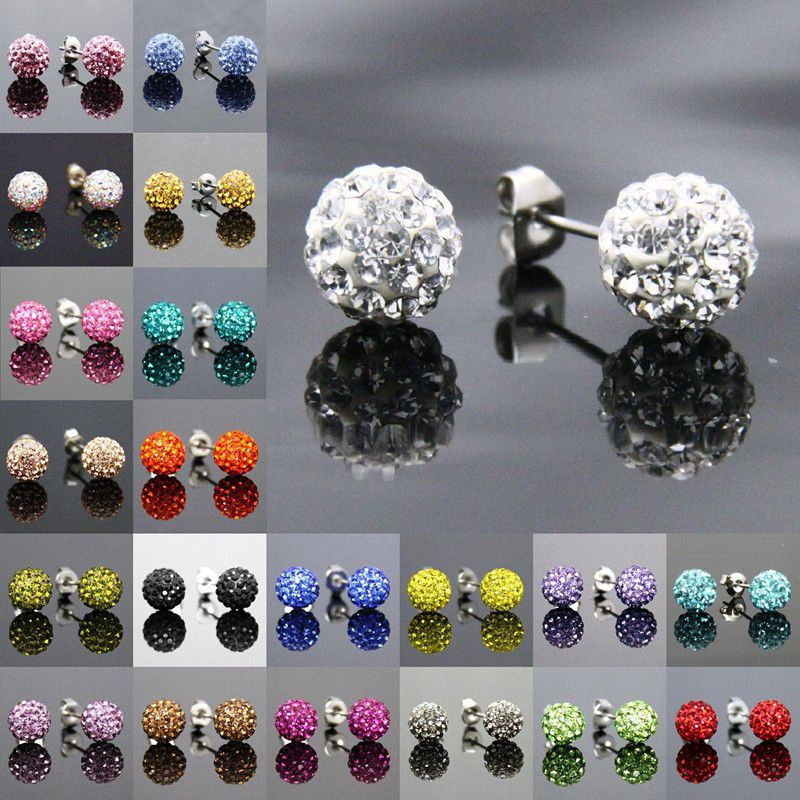 Many colors 8mm Sparkly Crystal Disco Clay Ball Silver Ear Stud Mini Earrings Bling for Bride Wedding Party Birthday Gifts