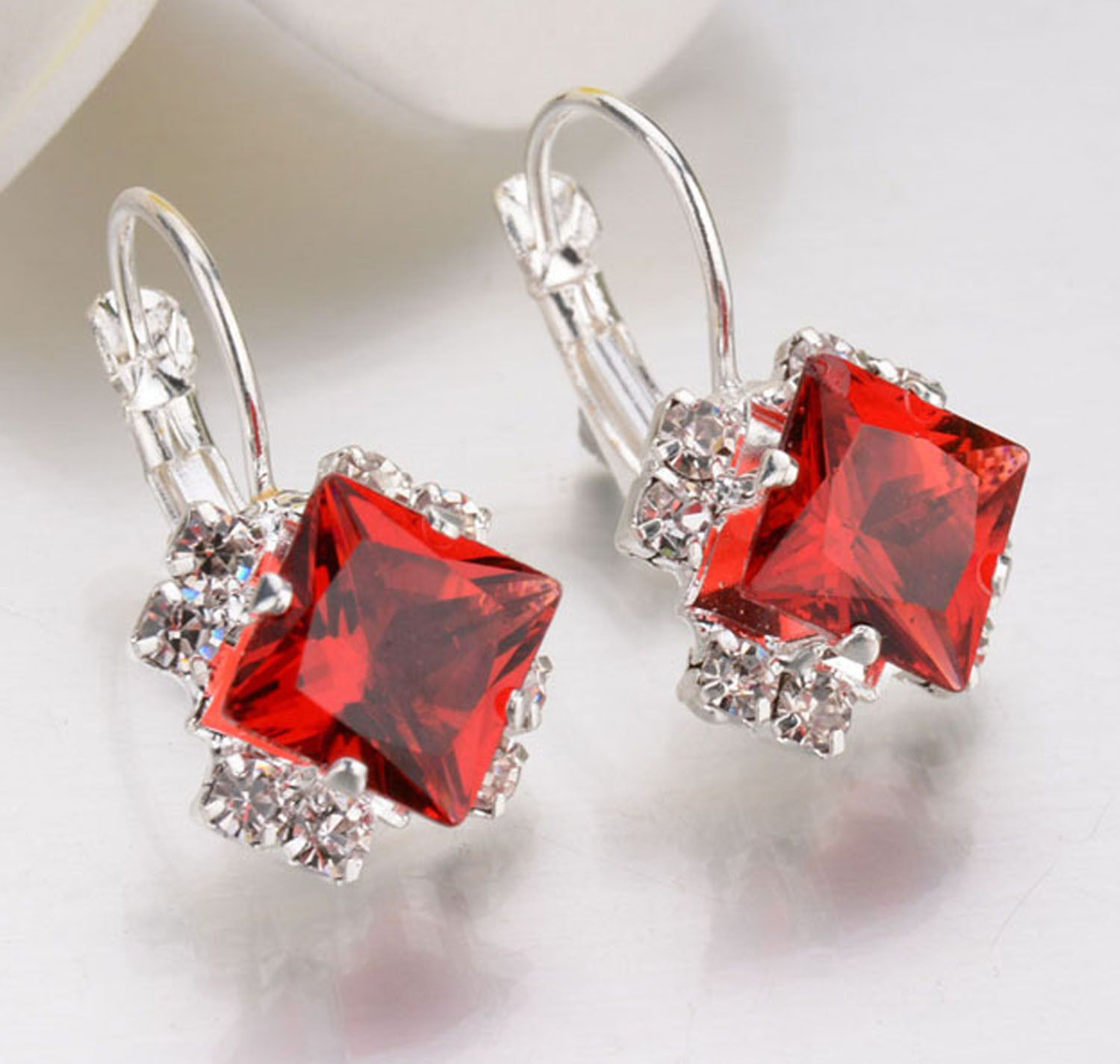 2018 New Arrival Elegant Women 925 Silver Crystal Rhinestone Ear Stud Earrings Jewelry