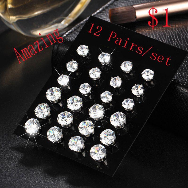 Amazing 12 Pairs/Set Women/men Crystal Cubic White Zirconia Stud  Earrings Set Party Wedding Alloy Women/men Jewelry Accessories