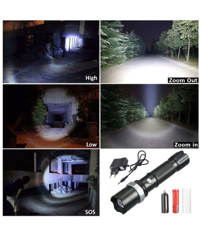 Jm 7W Flashlight Torch 3 Mode 400M Zoomable - Pack of 1