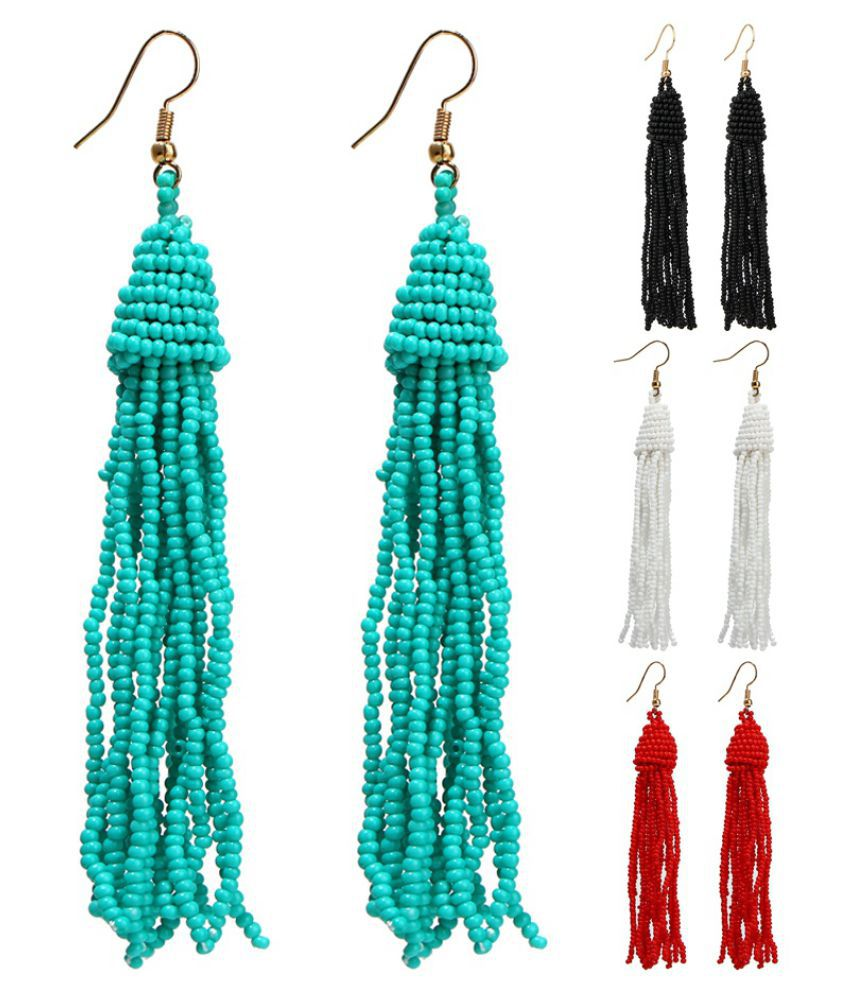 New Beautiful Women Bead Tassel Velvet Earring Fashion Simple Unique Popular Retro Style Long Personality Earrings Jewelry Wholesale