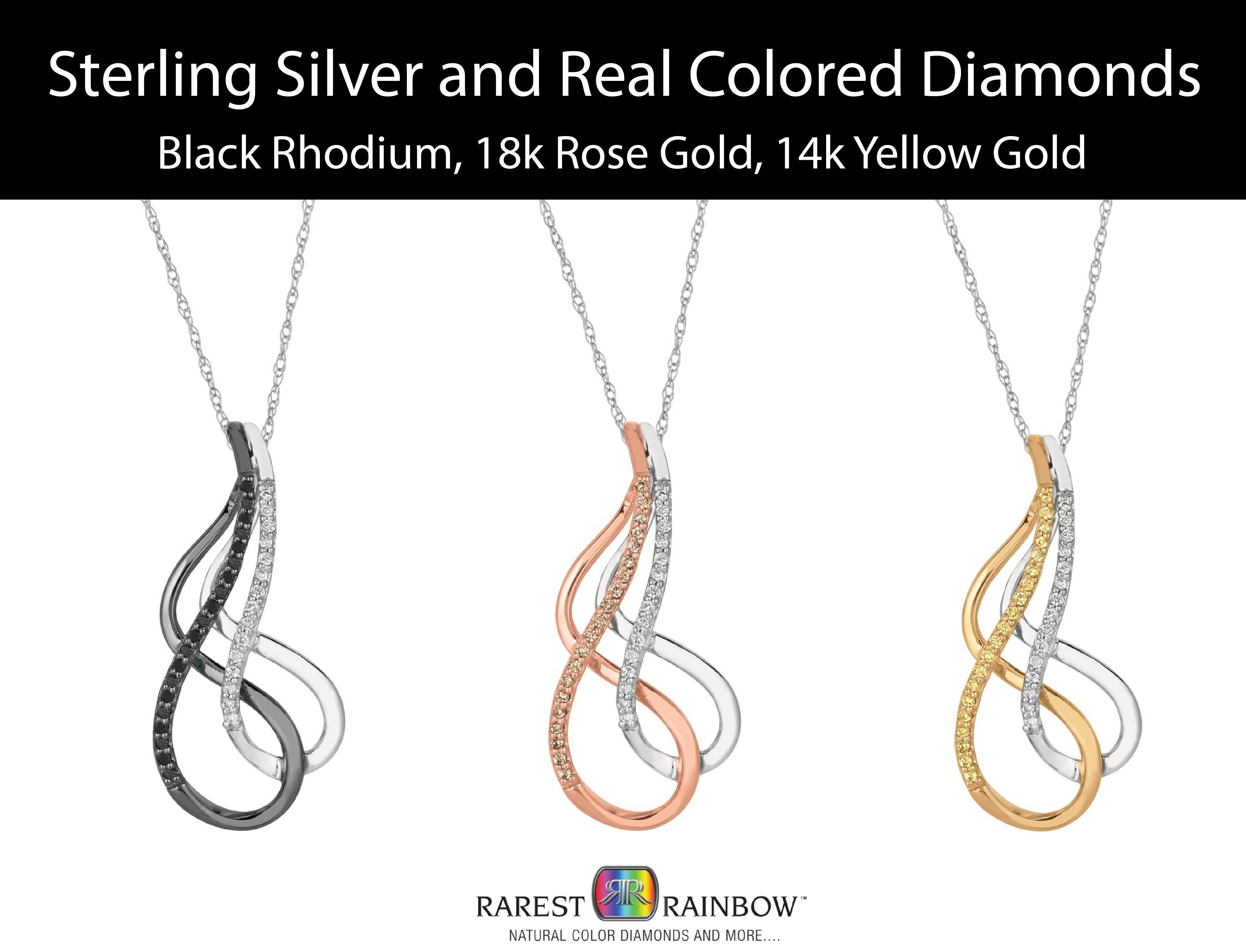 Rarest Rainbow by Pancis Sterling Silver and Vermeil Diamond Drop Pendant Necklace (3 Colors)