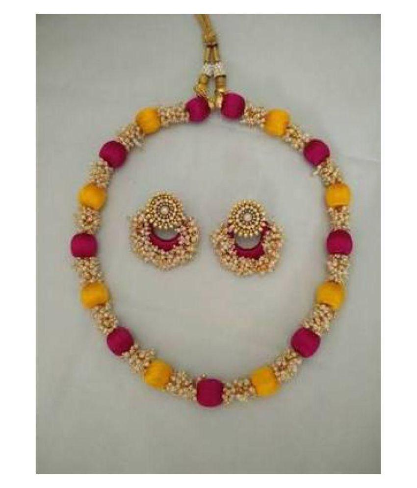 Silk Thread Designer Nacklace Or Earring For Girls