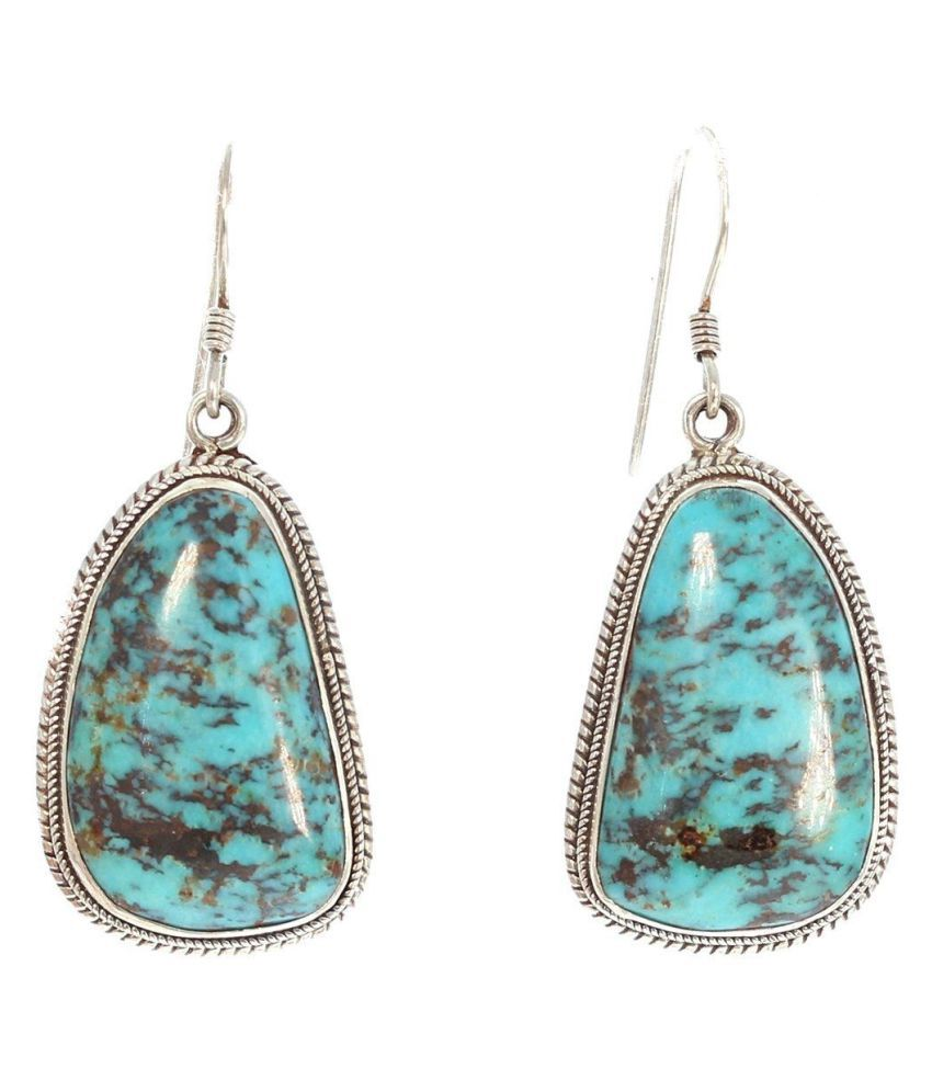 Vintage Women Jewelry 925 Sterling Silver Turquoise Gemstone Hook Dangle Stud Earring Party Gifts